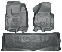 2012-2016 F250 & F350 Crew Cab Husky Liners WeatherBeater Front & Rear Floor Liners (Gray)