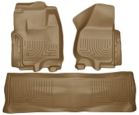 2012-2016 F250 & F350 Crew Cab Husky Liners WeatherBeater Front & Rear Floor Liners (Tan)