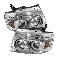 2004-2008 F150 Spyder LED Version 2 Projector Headlights w/ LED Halos (Chrome)