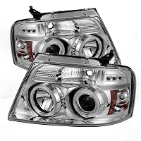 2004-2008 F150 Spyder LED Projector Headlights w/ CCFL Halos (Clear)