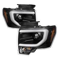 2013-2014 F150 & Raptor with Bi-Xenon HID Projectors Spyder Headlight Replacements w/ DRL Light Bar (Black)