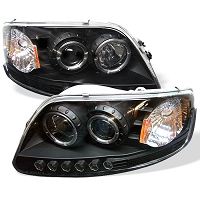 1997-2003 F150 Spyder LED Projector Headlights w/ LED Halos (Black)