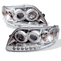 1997-2003 F150 Spyder LED Projector Headlights w/ CCFL Halos (Chrome)