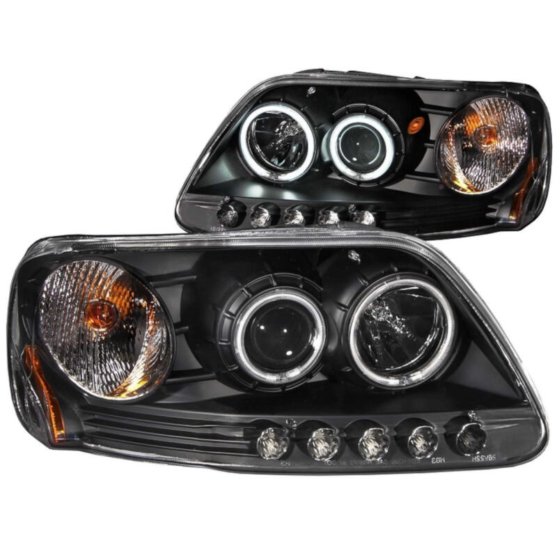 1997 2003 F150 Anzo Dual Halo Projector Headlights Ccfl Black 111097