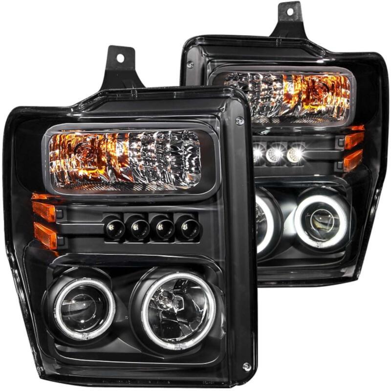 2008 2010 super duty f250 f350 anzo halo projector headlights ccfl black clear 111305