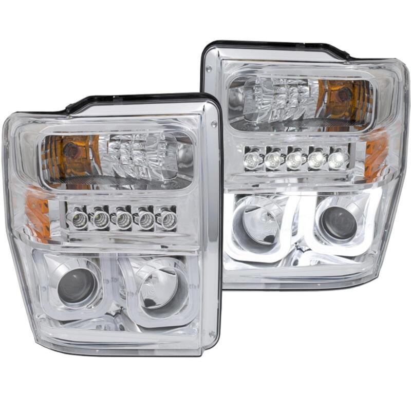 2008 2010 super duty f250 f350 anzo u bar projector headlights chrome clear 111306