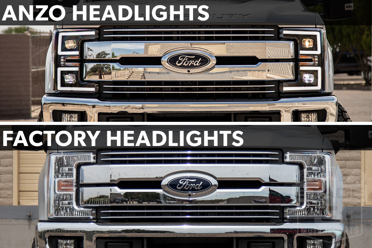 2017-2019 F250 & F350 ANZO LED Switchback Outline Projector Headlights (Black Housings) 111388