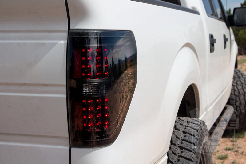2009 2014 f150 xtune led taillights with black housings smoked lenses alt jh ff15009 led bsm