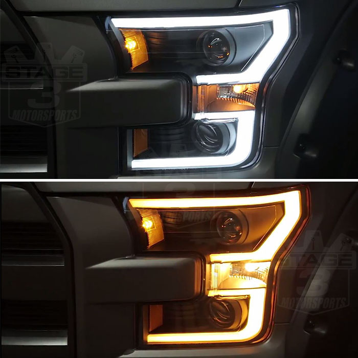 2015 2017 f150 anzo led switchback outline projector headlights chrome housings 111358. Black Bedroom Furniture Sets. Home Design Ideas