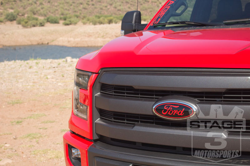 2015 2018 F150 Oval Blackout Red Lettering Overlay Badge Set S3m