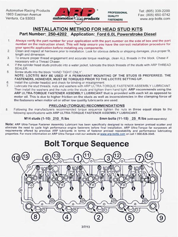 2004 2007 f250  f350 6 0l arp head studs 250 4202 6.4 Powerstroke Engine Diagram 6.0 Powerstroke Fuel System Diagram