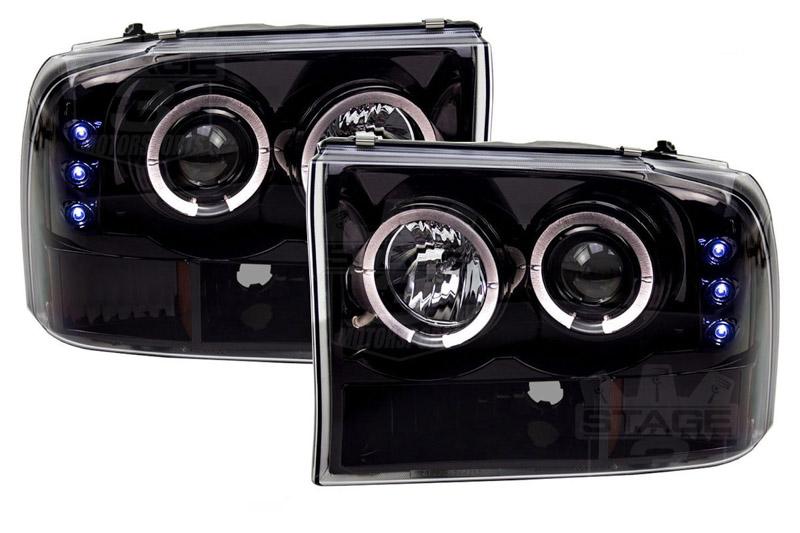 1999 2004 f 250 f350 super duty recon smoked projector headlights w led halos drls 264192bk