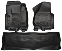 2012-2016 F250 & F350 Crew Cab Husky Liners WeatherBeater Front & Rear Floor Liners (Black)