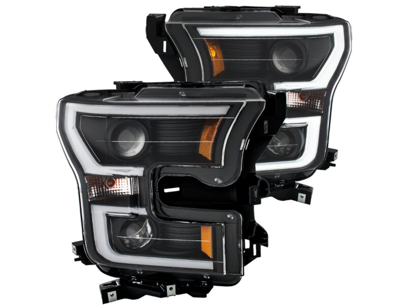 2015 2017 f150 anzo led outline projector headlights black housings 111347