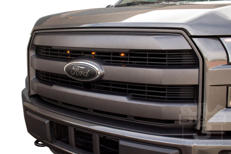 2015-2017 F150 with Lariat Grille Raptor Style LED Amber Grille Light Kit