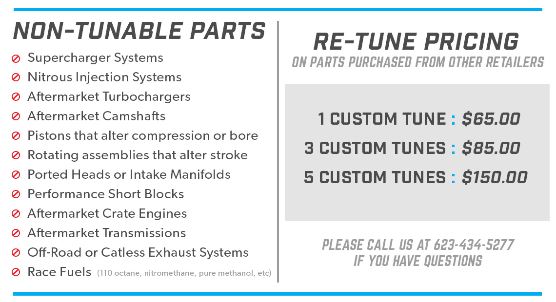 Prices for Retunes on Parts Purchased Elsewhere