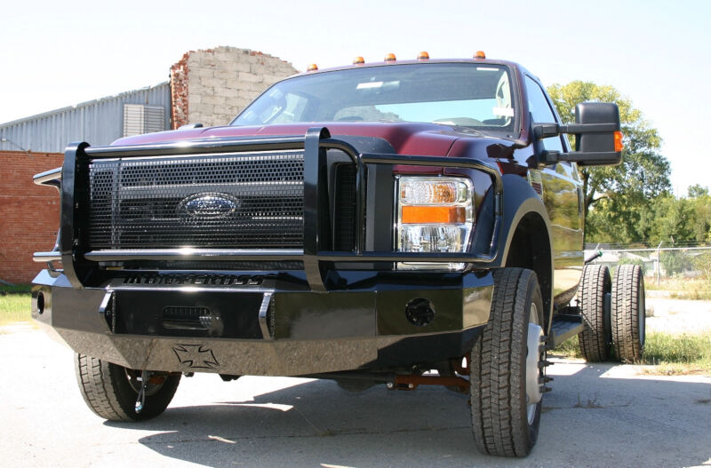 2008 2010 super duty f250 f350 iron cross replacement front bumper full grille model winch