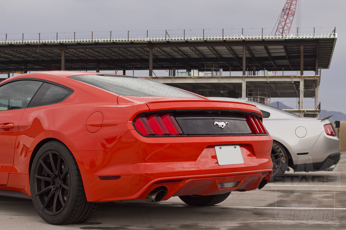 stage 3 s 2015 mustang ecoboost project car lowered with rookie stripes