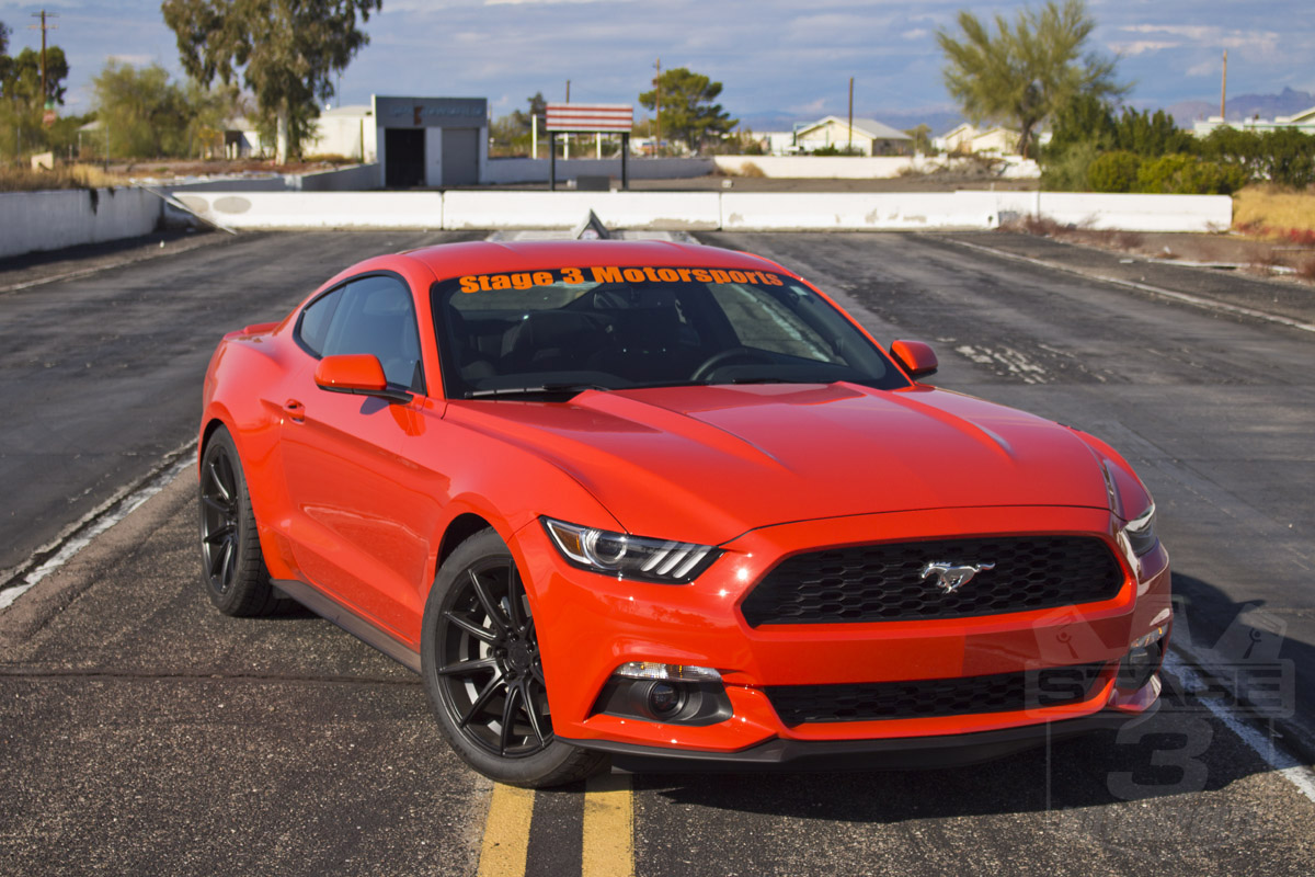 Stage 3's 2015 Mustang EcoBoost Project Car Lowered with Rookie Stripes