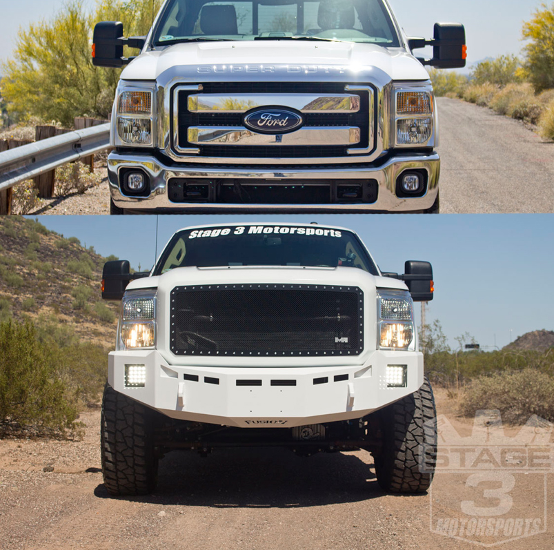 Fusion off road front rear bumpers installed on our 2014 6 7l super duty project truck