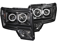 2009-2014 F150 ANZO G1 CCFL Halo Projector Headlights (Black)