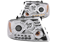 2004-2008 F150 ANZO Dual Halo Projector Headlights (Chrome)