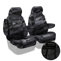2011-2012 F150 CoverKing Ballistic A-TACS Law Enforcement Camo Front Seat Covers (Black)