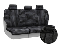 2013-2014 F150 CoverKing Ballistic A-TACS Law Enforcement Camo Rear Seat Covers (Black)