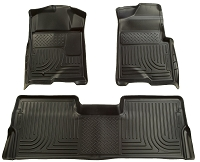 2009-2014 F150 SuperCrew Husky Liners WeatherBeater Front & Rear Floor Liners (Black)