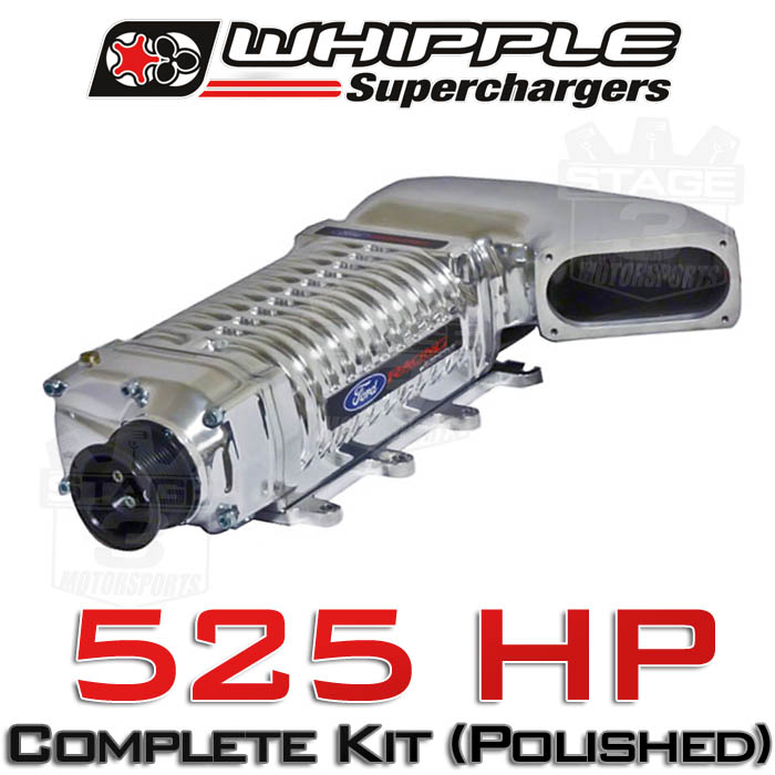 2011-2014 Mustang GT MT Whipple 525HP W140AX Supercharger Kit (Polished)