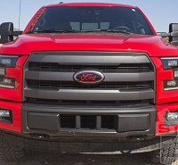2015-2017 F150 Oval Blackout Red Lettering Overlay Badge Set