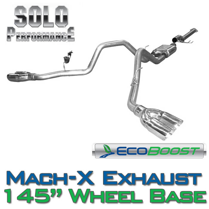 "2011-2014 F150 3.5L EcoBoost Solo Performance Mach-X Dual Exhaust (145"" Wheelbase)"