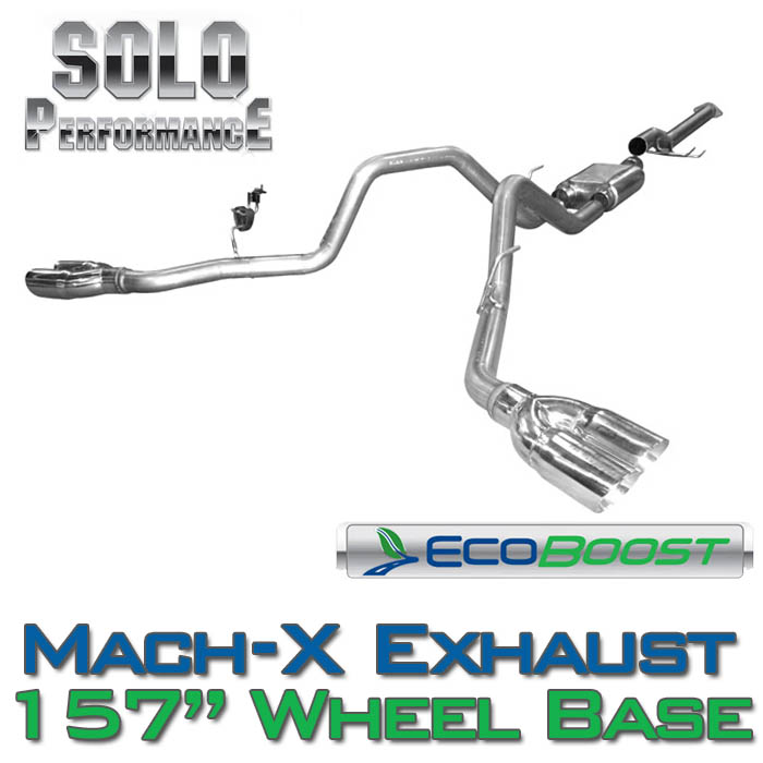 "2011-2014 F150 3.5L EcoBoost Solo Performance Mach-X Dual Exhaust (157"" Wheelbase)"