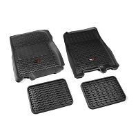 2001-2003 F150 Super Crew Cab Rugged Ridge Front & Rear Floor Liners 4-Piece (Black)