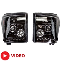 2011-2016 F250 & F350 Recon Smoked Projector Headlights w/ LED Halos & DRLs