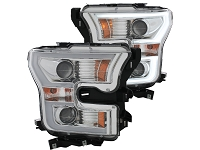 2015-2017 F150 ANZO LED Outline Projector Headlights (Chrome Housings)
