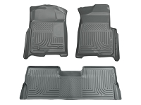 2009-2014 F150 SuperCab Husky Liners WeatherBeater Front & Rear Floor Liners (Grey)