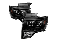 2009-2014 F150 Xtune Oval Projector Headlights with Black Housings