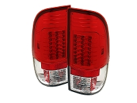1999-2007 F250 & F350 Spyder Version 2 LED Tail Lights (Red/Clear)