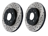 2011-2014 Mustang GT StopTech Sport Drilled & Slotted Front Rotors (Base Brakes)