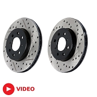 2005-2010 Mustang V6 StopTech Cross-Drilled Front Rotors