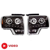 2009-2014 F150 / Raptor Recon Projector Headlights w/ CCFL Halos (Smoked)