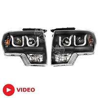 2009-2014 F150 / SVT Raptor ANZO U-Bar Headlights (Black)