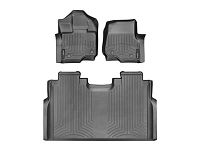 2015-2017 F150 SuperCrew with Front Bench WeatherTech Digital Fit Black Front & Rear Floor Liners (No Hump)