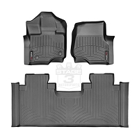 2015-2017 F150 SuperCab with Front Bench WeatherTech Digital Fit Black Front & Rear Floor Liners (No Hump)
