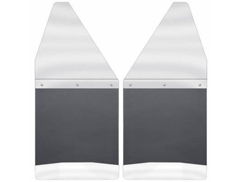 "1980-2018 F150 / F250 / F350 Husky Liners Kick Back Rear Mud Flaps (14"" Black/Stainless Steel)"