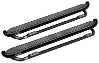 1999-2014 Super Duty F250/F350 Crew Cab ROMIK Running Boards w/ Add-On Drop Steps (Black)
