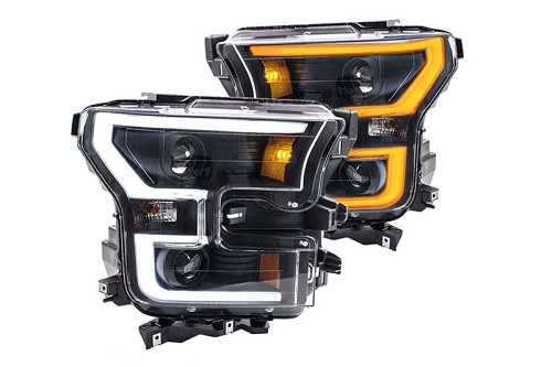 2015-2017 F150 ANZO LED Switchback Outline Projector Headlights (Black Housings)