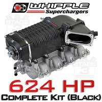 2011-2014 Mustang GT MT Whipple 624HP W140AX Supercharger Kit (Black)