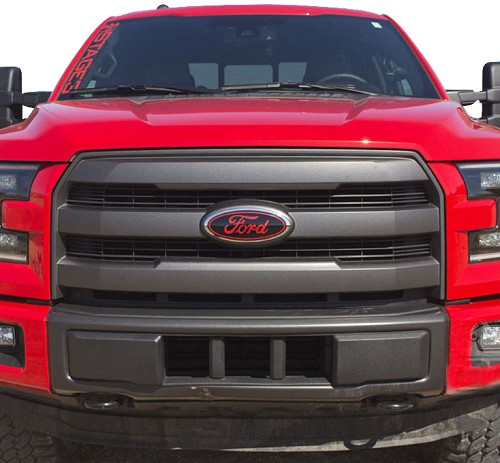 2015-2018 F150 Oval Blackout Red Lettering Overlay Badge ...